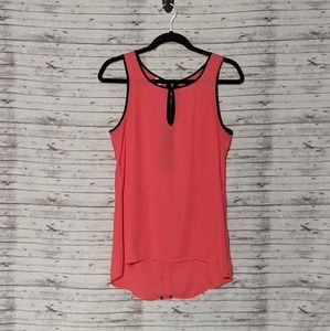 Studio Y Sz:S Salmon Sheer Tank black trim zip bac
